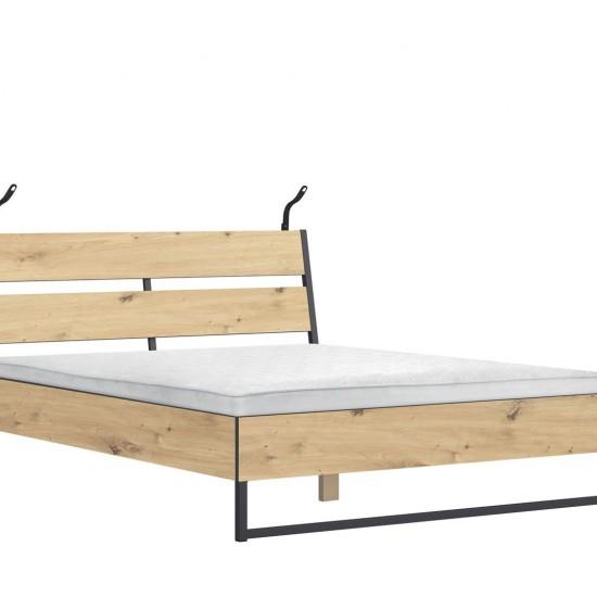 Кровать Brooklyn LOZ/160/B с подсветкой и с гибким основанием, Дуб артизан