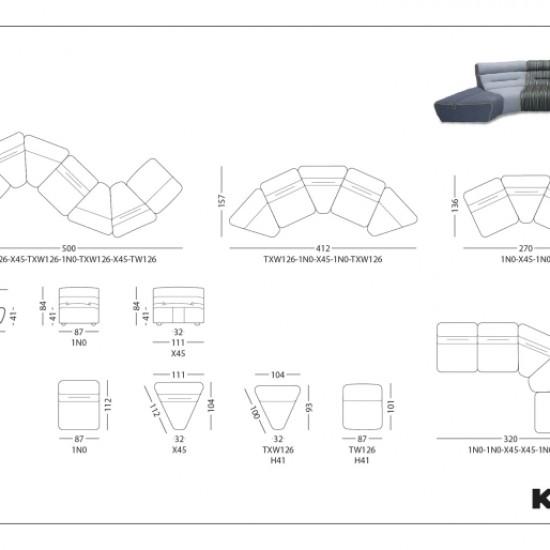 Диван KLER Swing W126 модульный