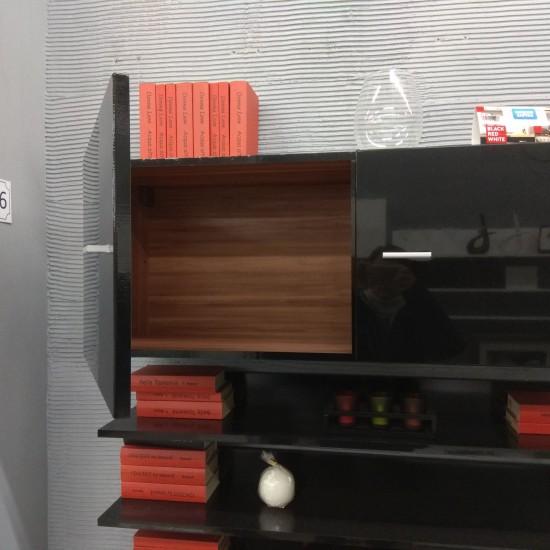 Шкаф настенный  Jang S-92- SFW2D_4_11,черный блеск