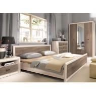 Двуспальная кровать Koen с гибким основанием LOZ/180, ясень снежный/сосна натуральная