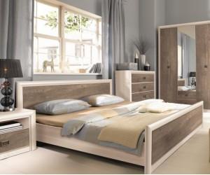 Двуспальная кровать Koen с гибким основанием LOZ/160, ясень снежный/сосна натуральная