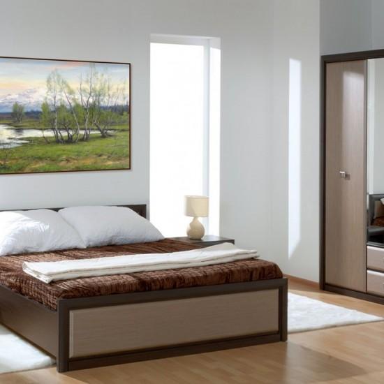 Кровать Koen с металлическим основанием LOZ/90, венге магия и штрокс темный