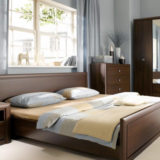Двуспальная кровать Koen, LOZ/140, венге магия с металлическим основанием