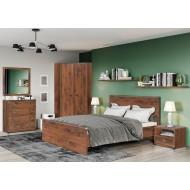 Кровать двуспальная Indiana JLOZ 160x200 с металлическим основанием, дуб саттер