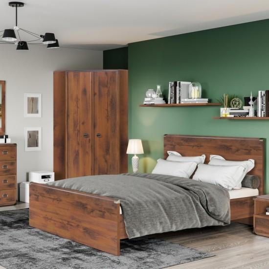 Кровать двуспальная Indiana JLOZ 160x200 с гибким основанием, дуб саттер