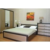 Двуспальная кровать Koen с металлическим основанием LOZ/160, венге магия и штрокс темный
