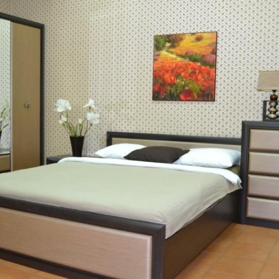 Двуспальная кровать Koen, LOZ/140, венге магия и штрокс темный  с металлическим основанием
