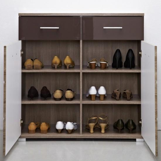 Тумба для обуви Homeline, KOM2D2S/10/10, дуб сонома темный/темно-коричневый  блеск