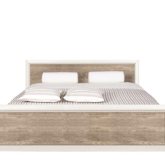 Двуспальная кровать Koen с металлическим основанием LOZ/160, ясень снежный/сосна натуральная