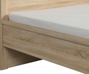 Двуспальная кровать Kaspian с металлическим основанием LOZ 160, дуб сонома