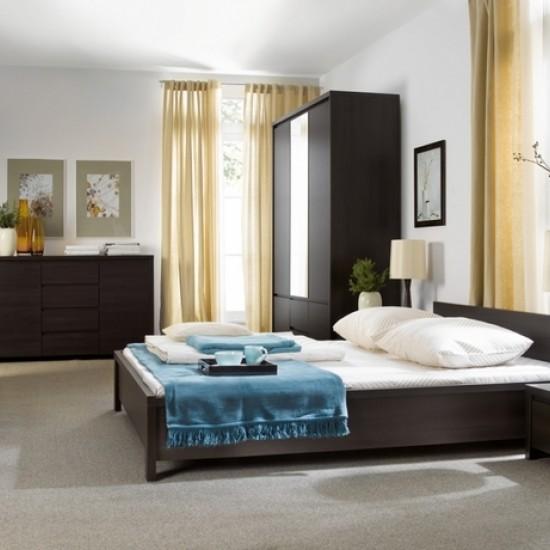 Двуспальная кровать Kaspian с гибким основанием, LOZ 160, венге