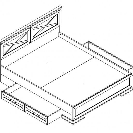Кровать двуспальная с ящиками Marselle LOZ/160х200 ясень снежный / дуб сонома темный