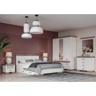 Кровать двуспальная с подъемным механизмом Marselle LOZ/160х200 ясень снежный / дуб сонома темный