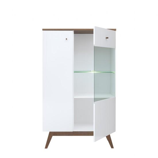 Шкаф-витрина Heda REG1D1W, лиственица сибирская золотая / белый
