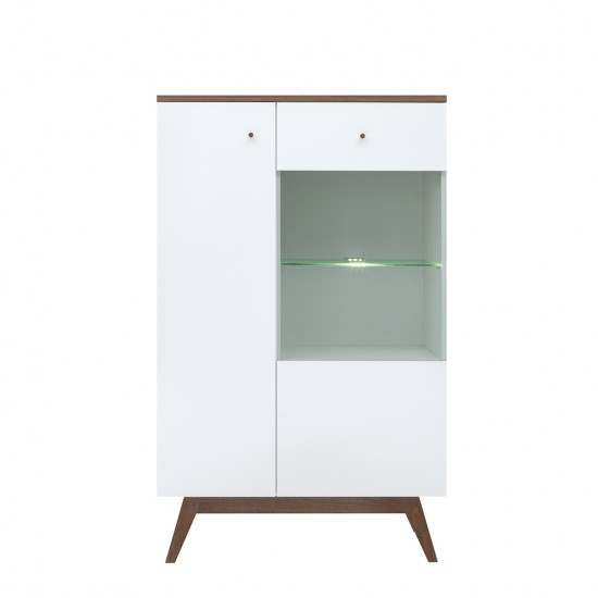 Шкаф-витрина Heda REG1D1W с подсветкой, лиственица сибирская золотая / белый