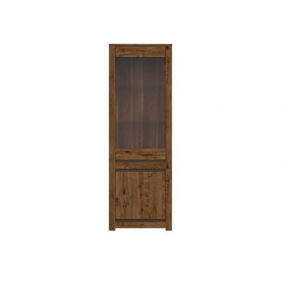 Шкаф-витрина Ruso S407-REG1W1D, дуб April/жемчужный глянец