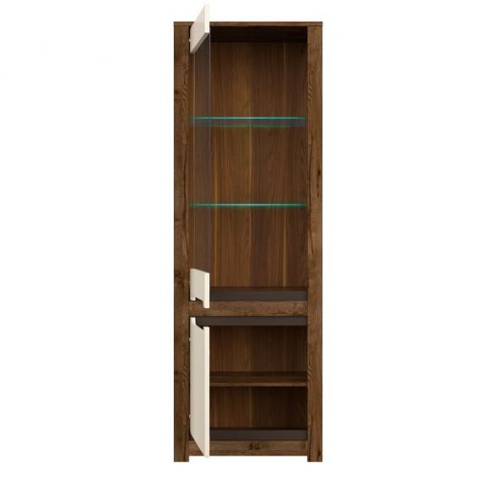 Шкаф-витрина с подсветкой Ruso S407-REG1W1D, дуб April/жемчужный глянец