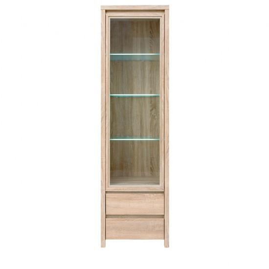 Шкаф-витрина Heda REG1W2S с подсветкой, лиственица сибирская золотая / белый