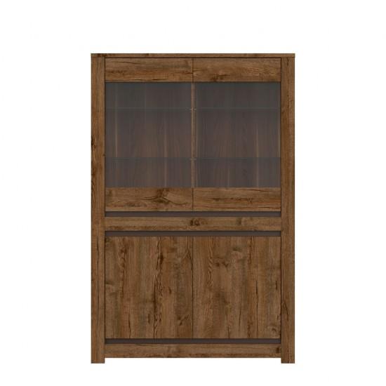 Шкаф-витрина Ruso S407-REG2W2D, дуб April / жемчужный глянец