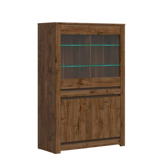 Шкаф-витрина с подсветкой Kada S404-REG2W2D, дуб April