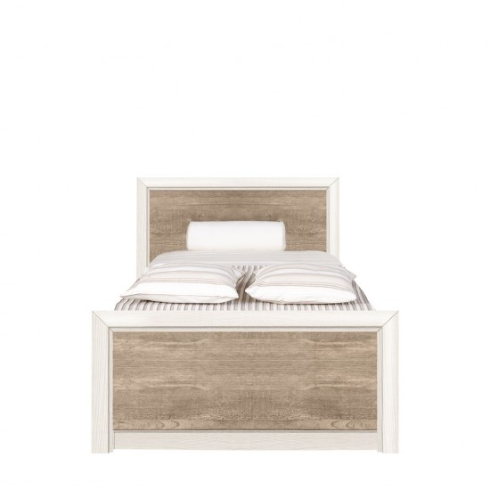 Кровать Koen с металлическим основанием LOZ/90, ясень снежный/сосна натуральная