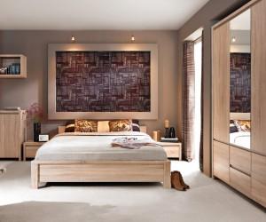 Двуспальная кровать Kaspian с гибким основанием LOZ 160, дуб сонома