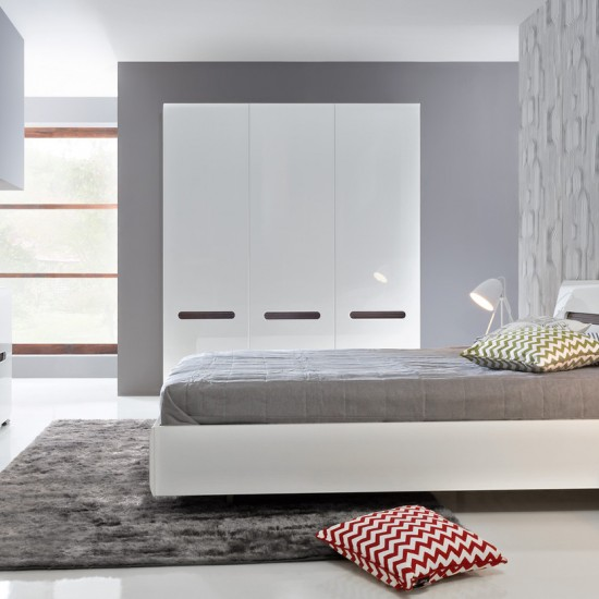 Кровать двуспальная Azteca с металлическим основанием, loz140х200, белый блеск