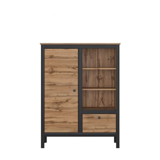 Шкаф Loft, REG1D1S/90, дуб вотан/черный