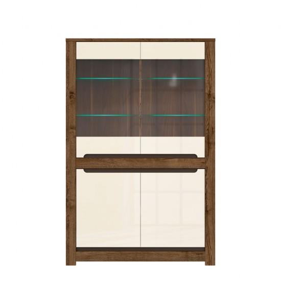 Шкаф-витрина с подсветкой Ruso S407-REG2W2D, дуб April / жемчужный глянец